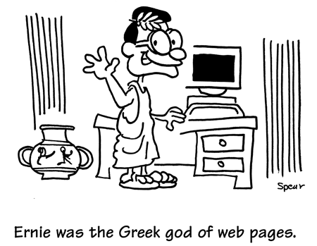 Cartoon of the greek god of web sites