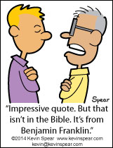 Cartoon of a guy misquoting from The Bible
