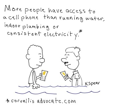 Sketch note of cell phones and clean water