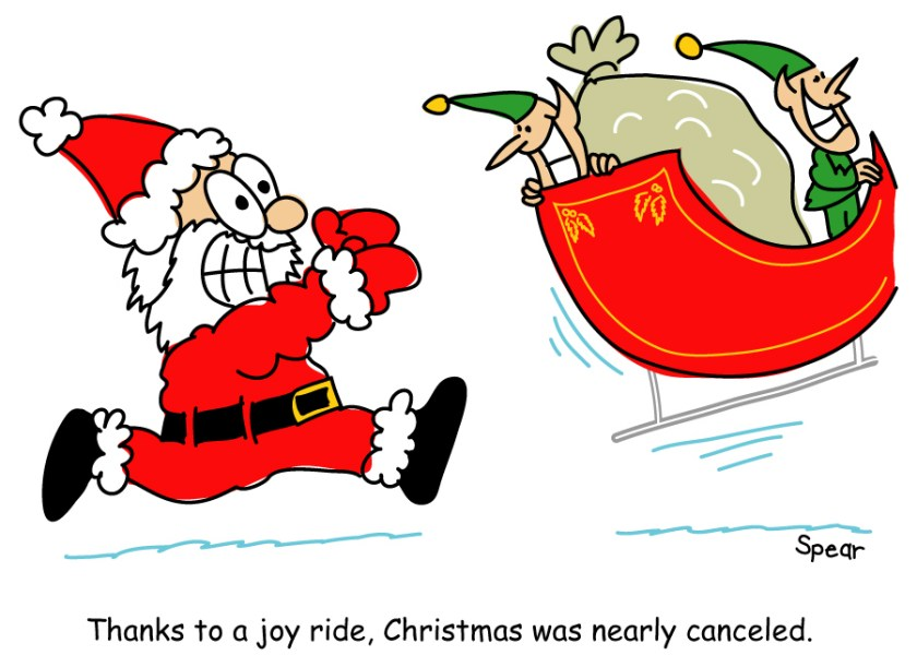 Cartoon of Santa chasing a sleigh full of mischievous elves