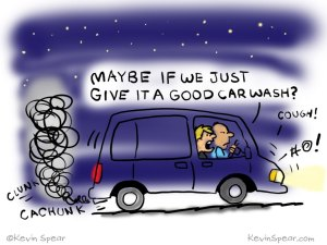 Cartoon of two guys stuck in a van. One says, Maybe if we just give it a good car wash?