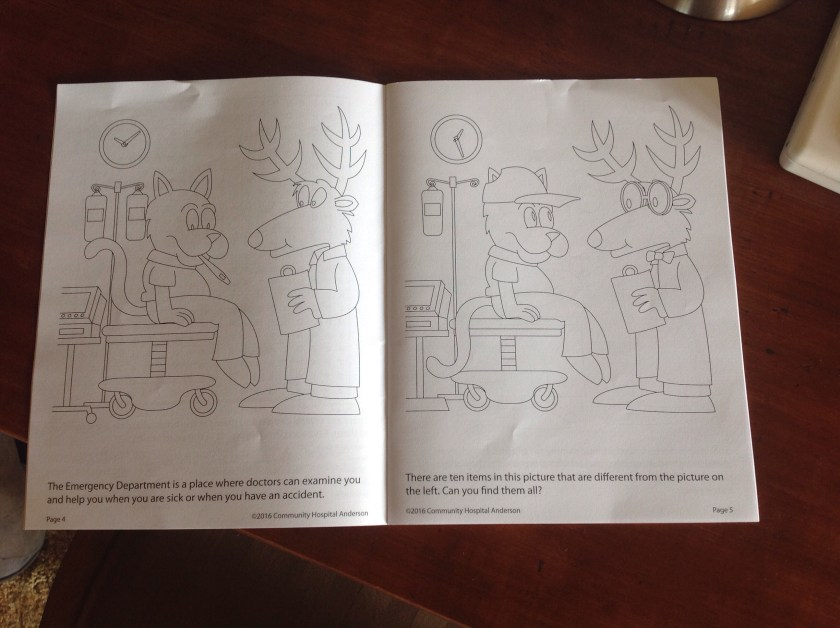 Inside spread of the a picture activity for the Community Hospital Anderson Coloring Book