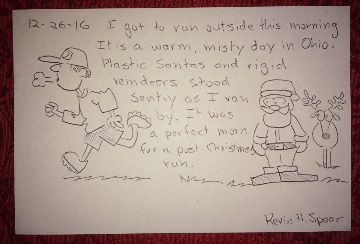 sketch note of a post-Christmas run on a warm, Ohio day