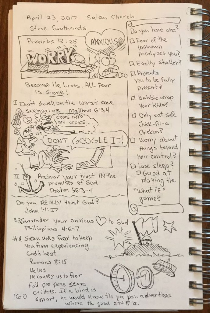 "Sermon sketch notes based on ""Because He Lives, All Fear is Gone."""