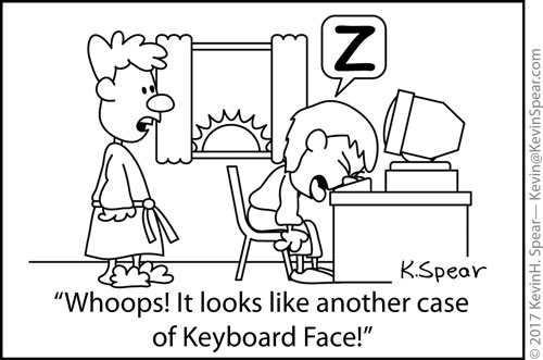 Cartoon of a woman falling asleep on her computer keyboard