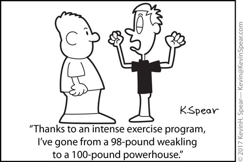 cartoon of a guy showing off his weak muscles