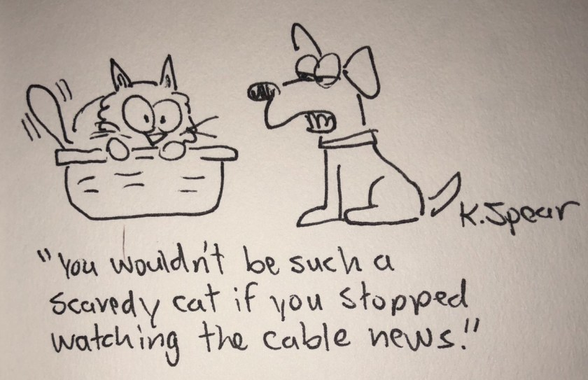 """Cartoon of a scared cat and a dog. The dog says, """"You wouldn't be such a scaredy cat if you stopped watching cable news."""""""