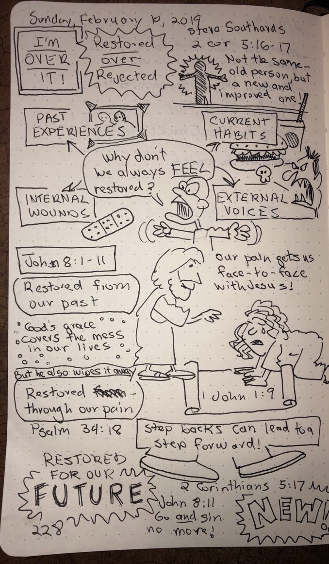 Sermon Sketch Notes: Restored Over Rejected | Kevin H  Spear