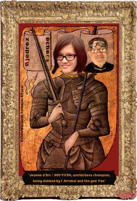 Jeanne d'Arc Interesting article by the Spanish literary icon Arrabal: http://laregledujeu.org/arrabal/2016/05/20/6981/hou-jiyqn-0-totqlnenr-rqison/. But I don't buy Yifan's arguments. She has made an enormous amount of money playing the double-standards of Women's chess (in Gibraltar in 2015, for example, besides the prize she picked up for finishing in the top ten, she picked up a cool 15,000 pounds as top female player, making more money than the tournament winner Nakamurov! ) No, you either take a principled stand as Judit Polgar has done (only play men tournaments--as a question of honour and principle) or you KEEP YOUR MOUTH SHUT, stop complaining and swallow whatever Kirsan dishes out. Yifan has no right to expect to eat her cake and have it too....she now dreams of being treated like a man--but only when it is to her advantage-- while at the same time wanting to keep all of the financial advantages she has as a woman. No way, Jose! It is not fair either to men or to her women colleagues.