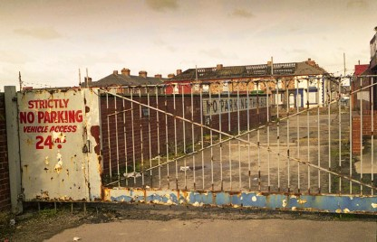 Taken in Stockton in 2012; demolition was under way so these houses must be gone now.
