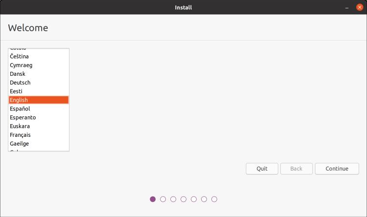 Taal kiezen bij installatie Ubuntu