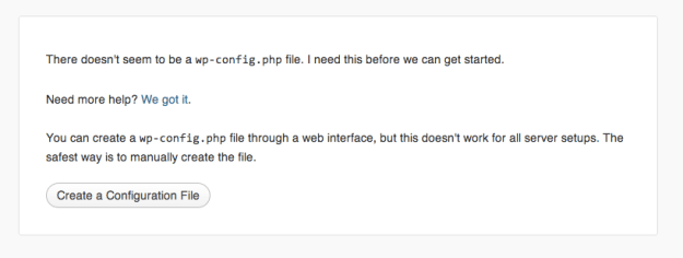 create wp-config.php file