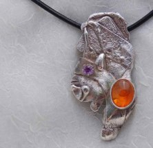 fused reticulated silver, mexican opal, dyed crystal