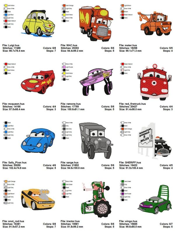 Disney Cars Embroidery Designs Set