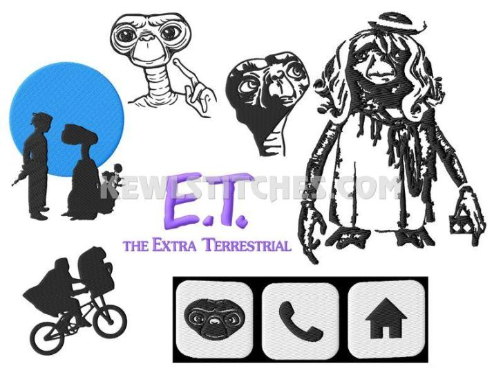 E.T. The Extra Terrestrial Embroidery Designs Set