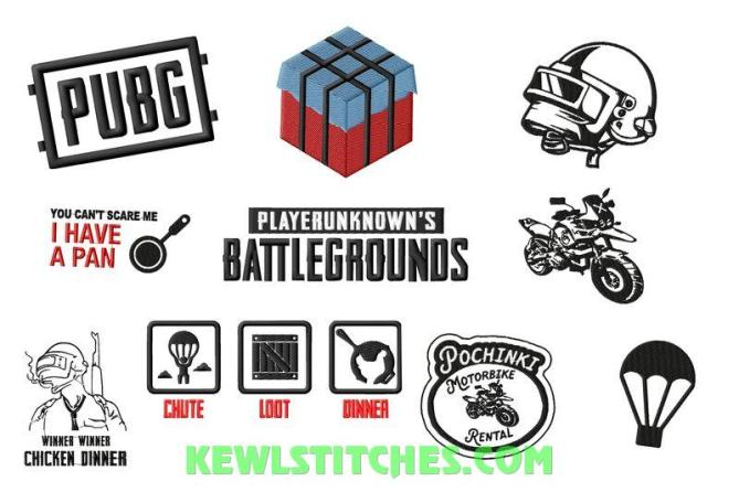 PUBG Player Unknown Battle Grounds Embroidery Designs