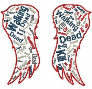 Walking Dead Daryl Wings Text Art Embroidery Design (3 szs)