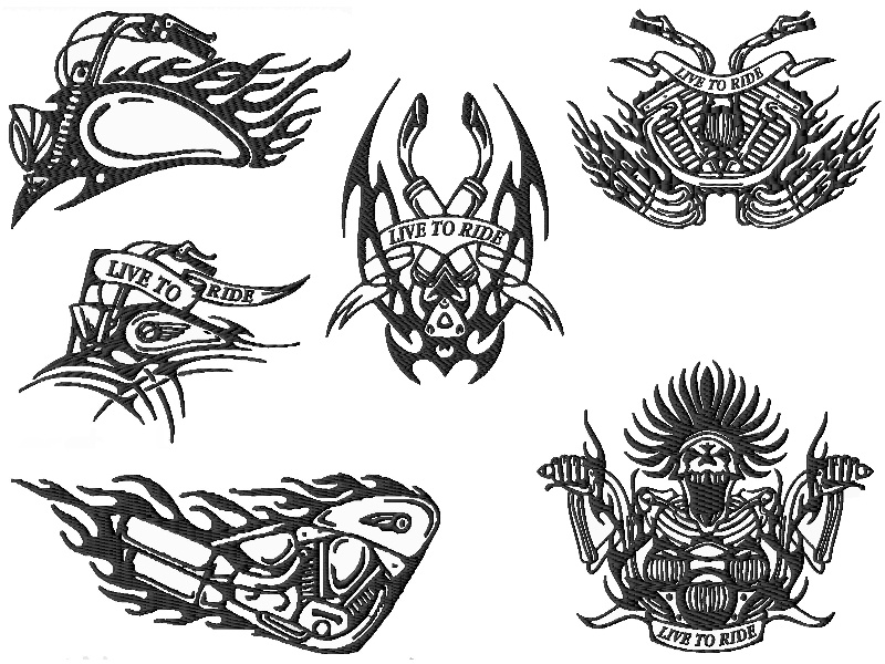 Tribal Biker Embroidery Designs Set 1