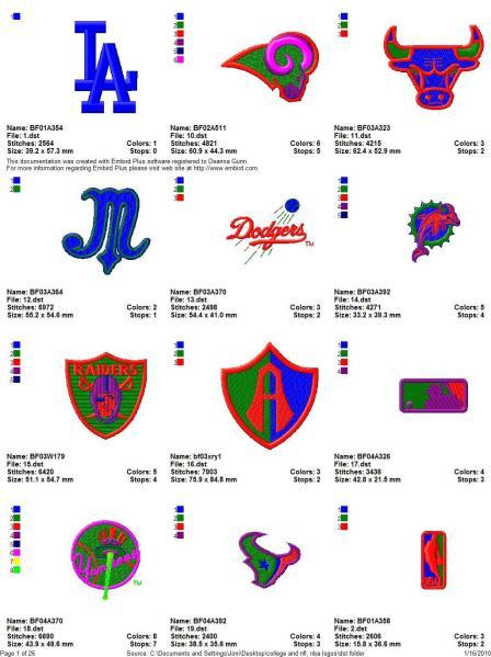 Pro Sports Logo Embroidery Designs Set