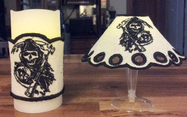 Son's of Anarchy FSL Wine Glass Lamp Shade and Candle Wrap Set