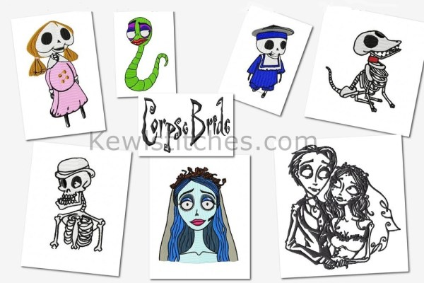 Corpse Bride Embroidery Designs Set