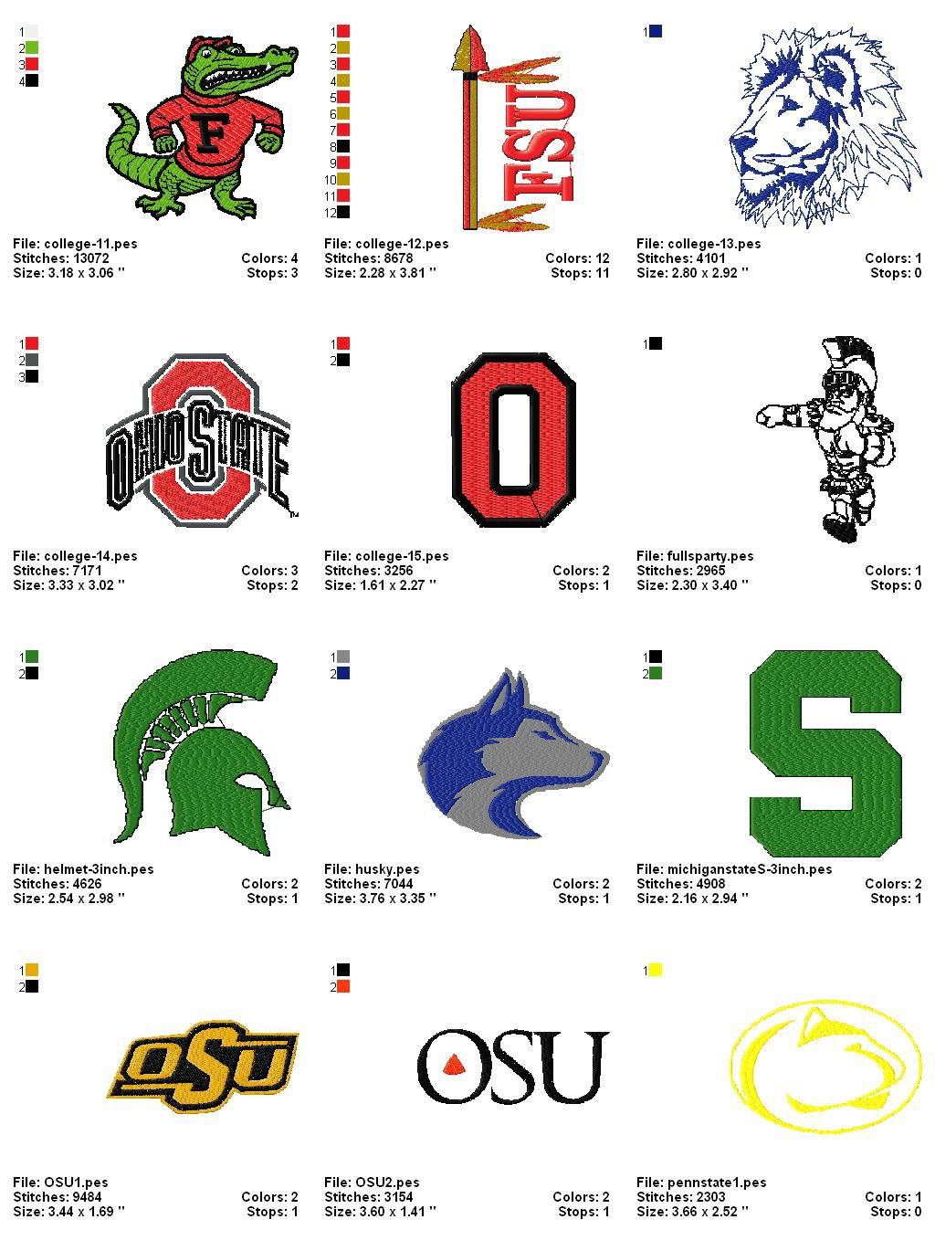 College (collegiate) Embroidery Designs Logos