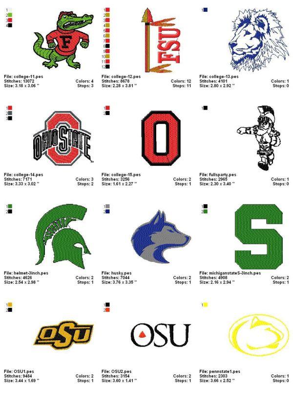 College (collegiate) Embroidery Designs Logos