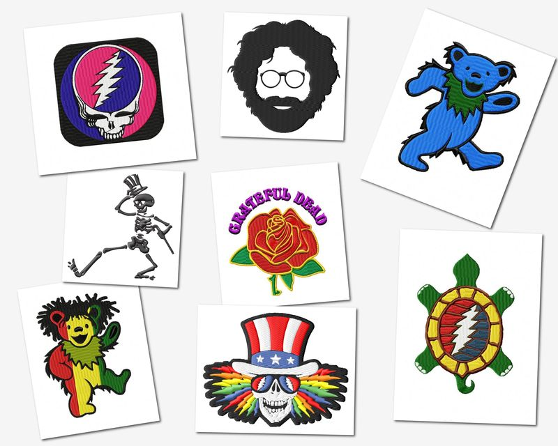 Grateful Dead Embroidery Designs Set