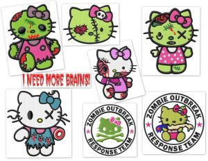 Hello Kitty Zombie Embroidery Designs