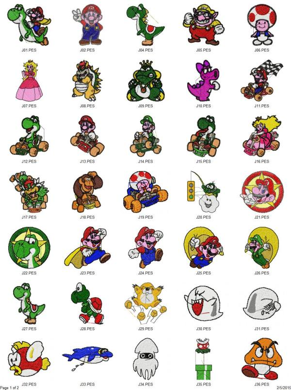 Super Mario Bros./Donkey Kong Embroidery Designs Set