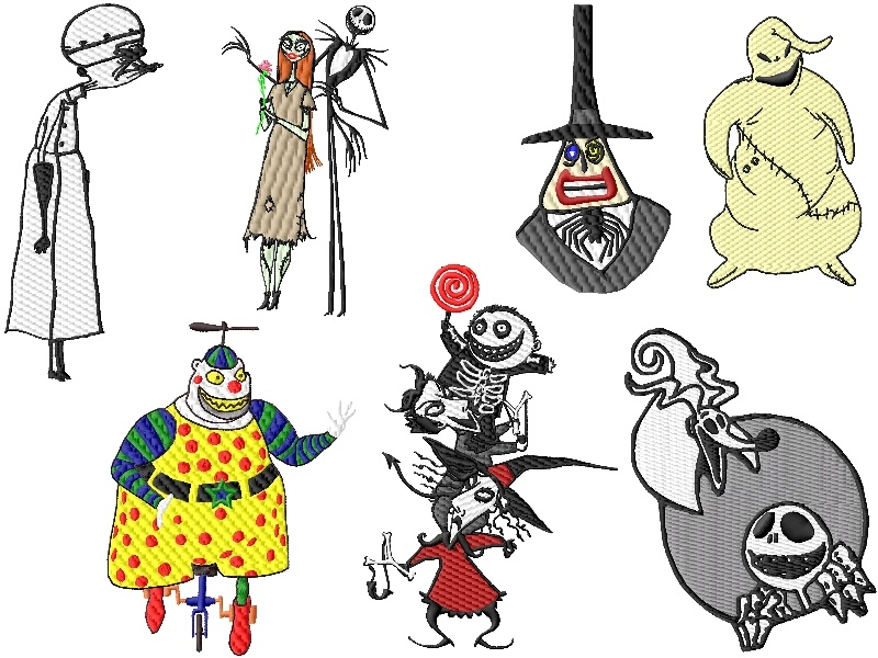 Nightmare before christmas embroidery designs set 2 2szs for Descargar embroidery office design 7 5 full