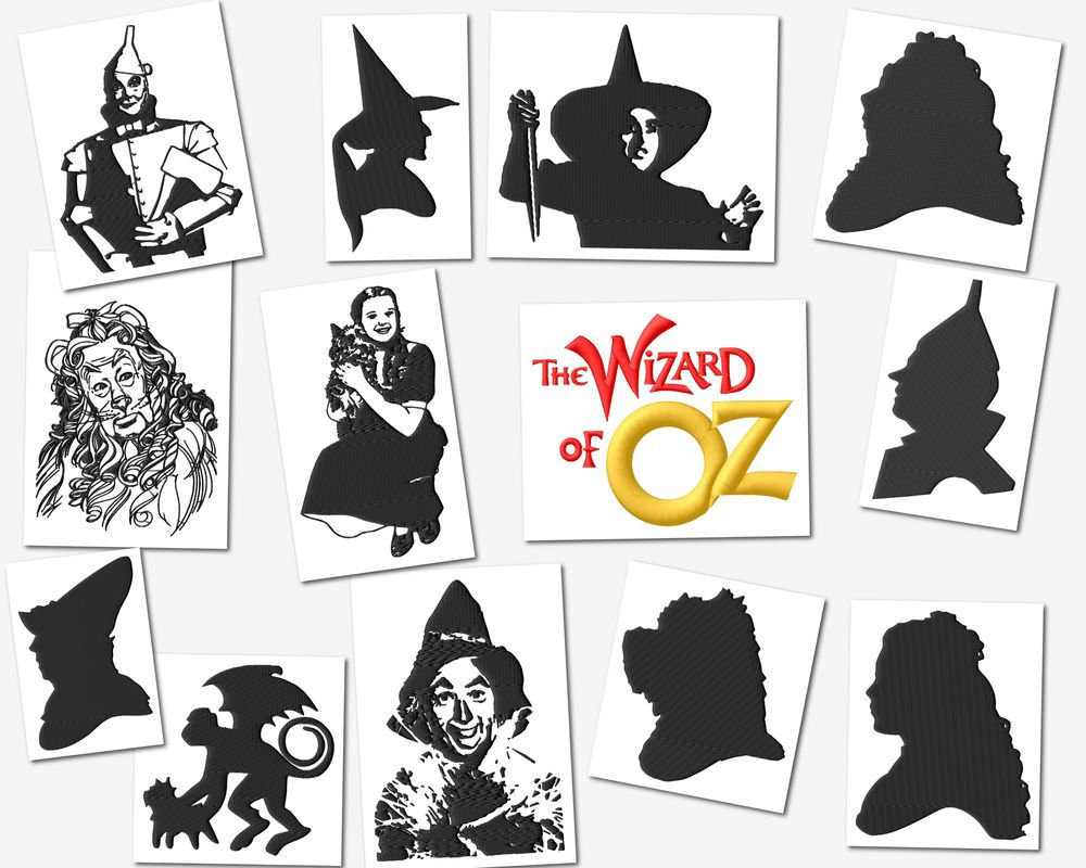 The Wizard Of Oz Black Art Embroidery Designs Set