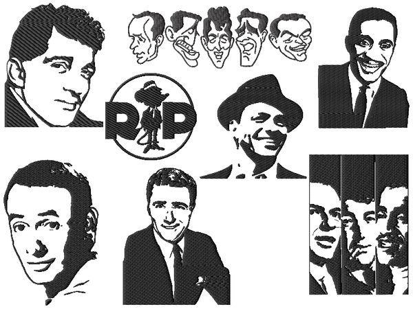 Rat Pack Embroidery Designs Set