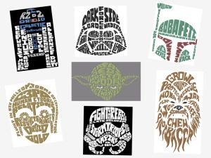 Jumbo Star Wars Text Art Embroidery Designs Set