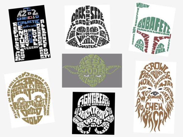 Jumbo Star Wars Text Art Embroidery Designs Set