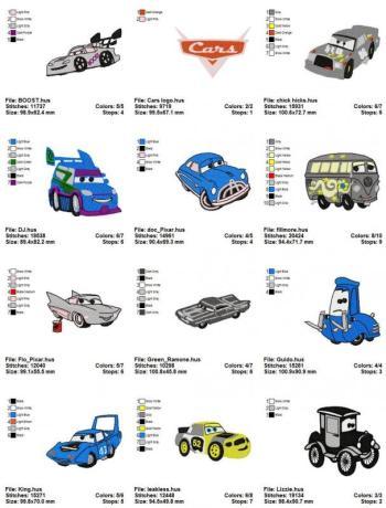 2 Disney Cars Embroidery Designs Set