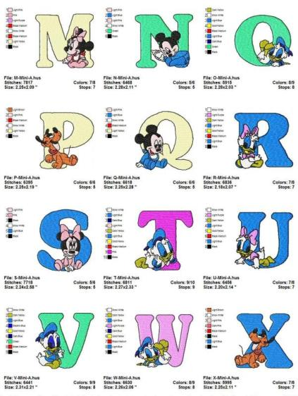 2 Disney Baby A-B-C Letters Embroidery Designs