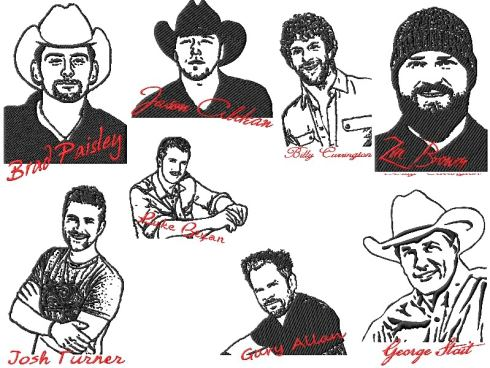 2 Country Music Stars Hunks Embroidery Designs