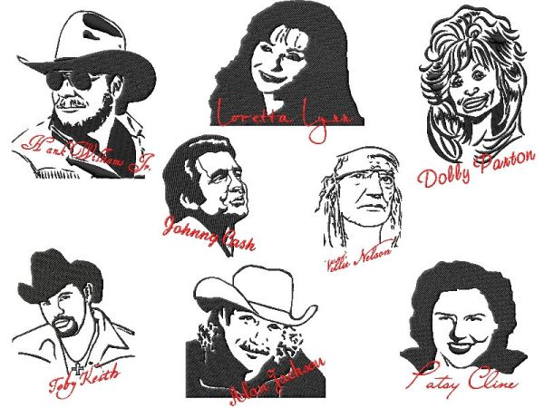 Famous People Country Music Star Embroidery Designs