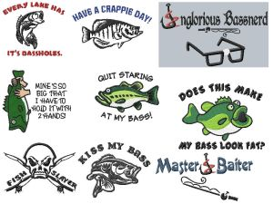 Rude Funny Fishing Embroidery Designs