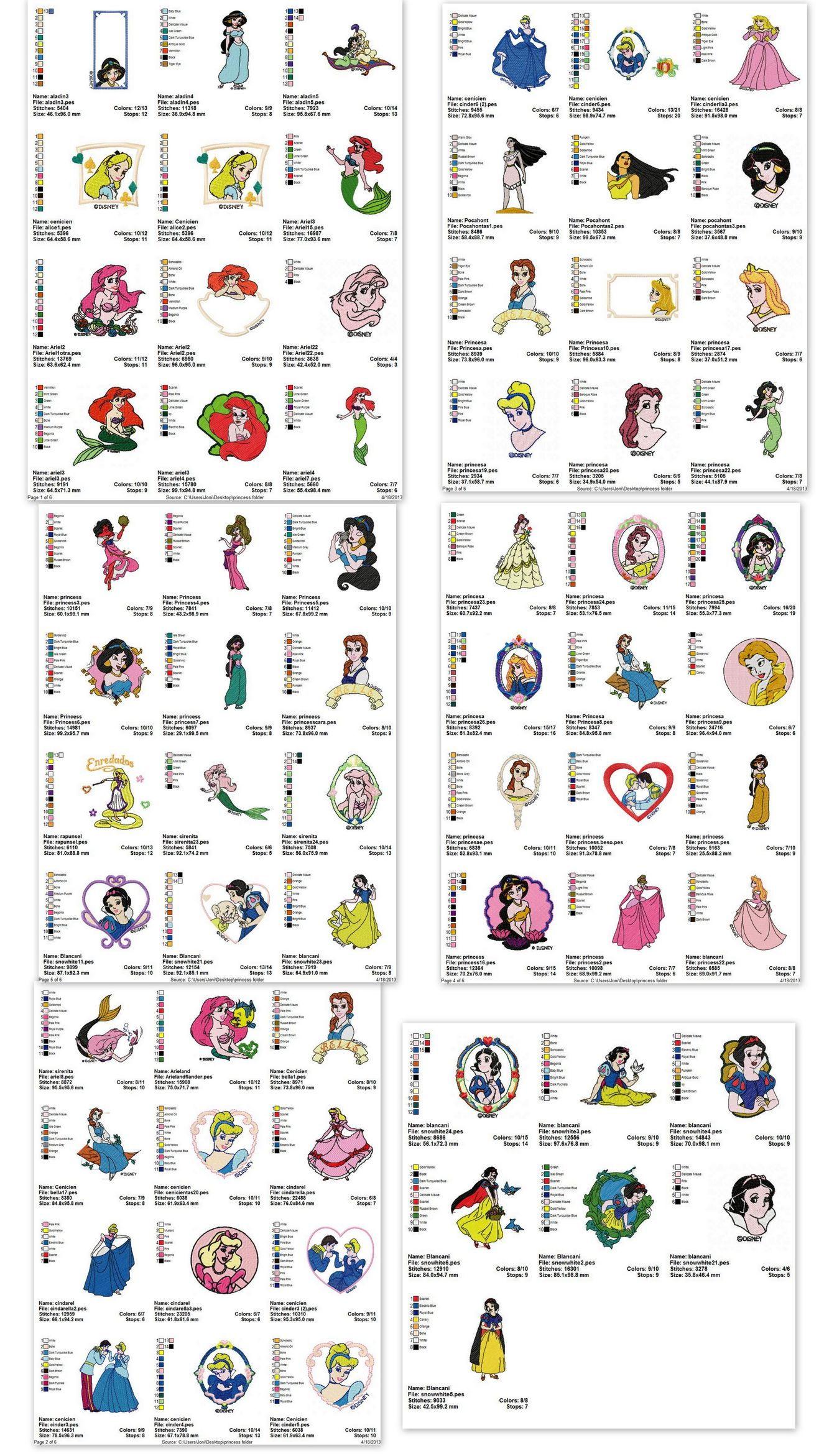disney princess embroidery designs
