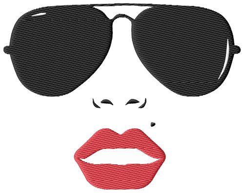 Sexy Face Sunglasses Embroidery Design
