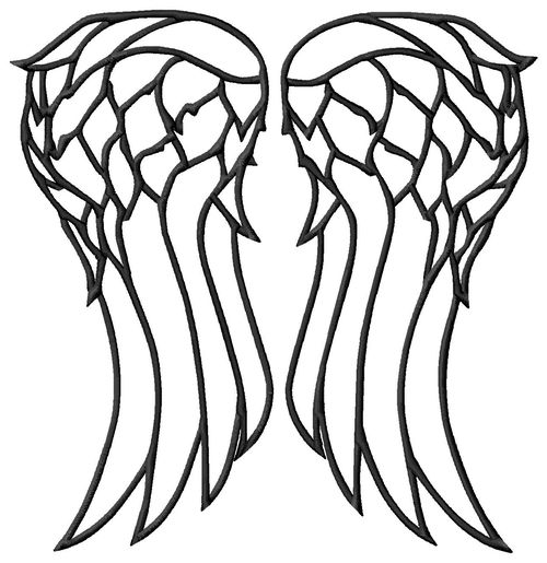 Walking Dead Daryl Dixon Wings Applique or Embroidery Design