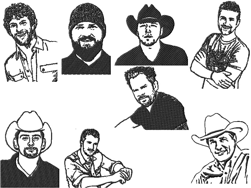 Country Music Stars Hunks Embroidery Designs