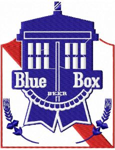 Dr Who Blue Box Beer Embroidery Design
