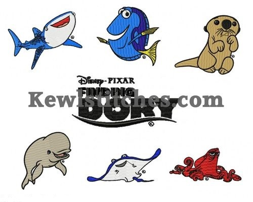 finding dory embroidery designs set
