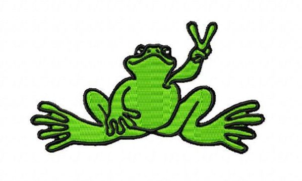 Green Peace Sign Frog Embroidery Design