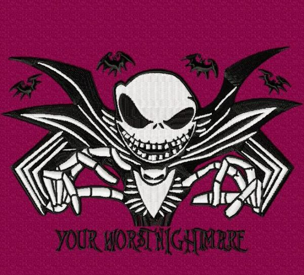 Nightmare Before Christmas Jack with Bats Embroidery Design