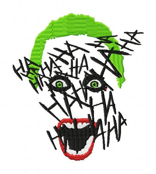 Suicide squad joker face hahaha embroidery designs 3 szs for Home by johker design