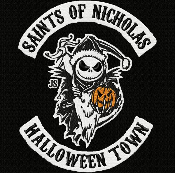 Nightmare Before Christmas Biker Patch Style Embroidery Design